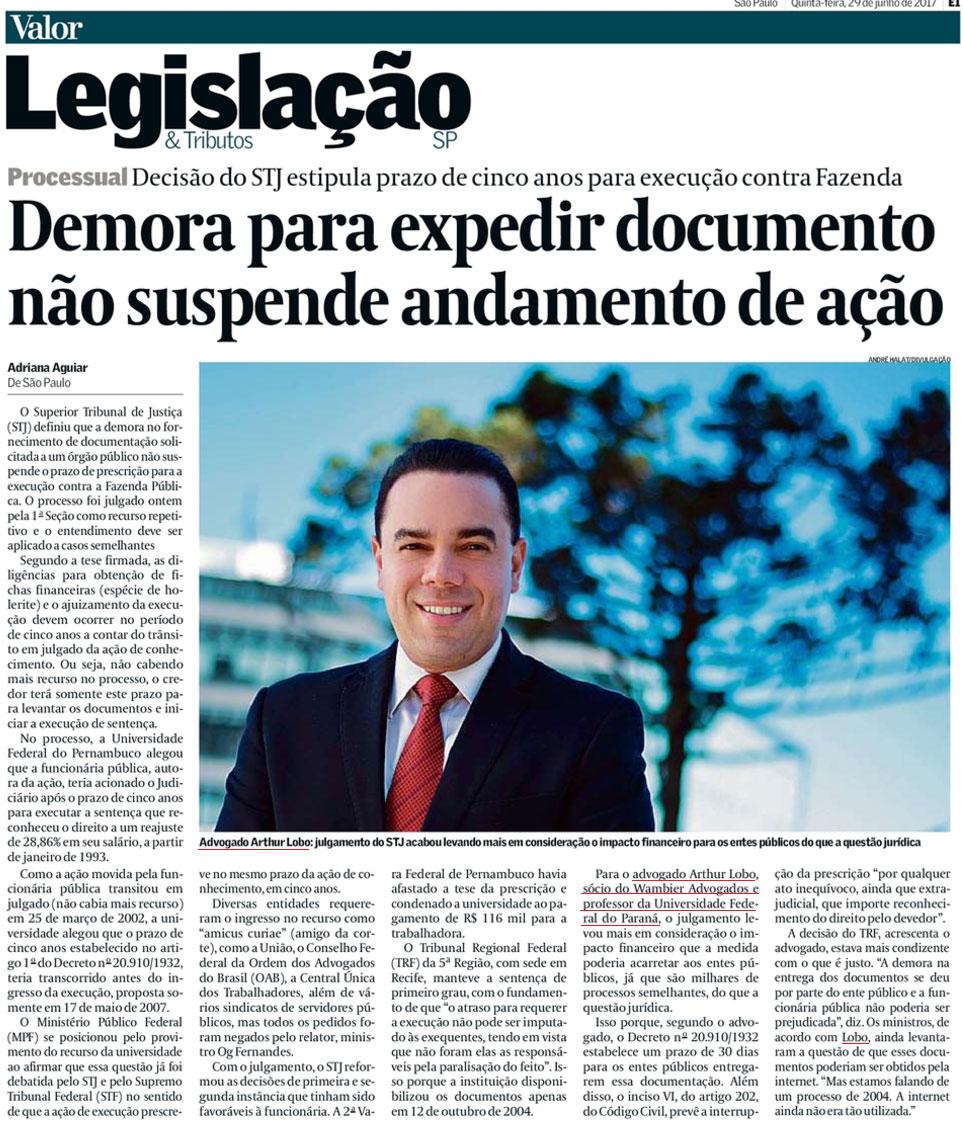 Valor Econômico - dr. Arthur Lobo